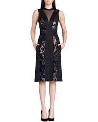 J. Mendel Paneled Metallic Illusion Dress - Lyst