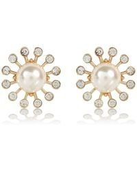 River Island Faux Pearl Diamante Surround Stud Earrings - Lyst