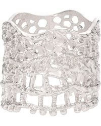 Aurelie Bidermann 18k Silver Lace Ring - Lyst