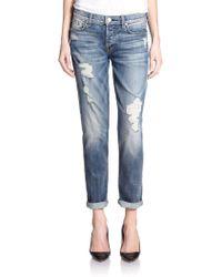 7 For All Mankind Josefina Distressed Boyfriend Jeans blue - Lyst