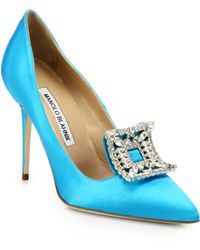 Manolo Blahnik Borlak Satin Pumps - Lyst