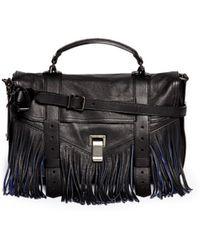 Proenza Schouler 'Ps1 Pouch Fringe' Medium Leather Satchel black - Lyst