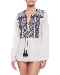 Figue Paloma Embroidered Tunic Coverup - Lyst