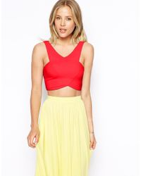 Asos Cropped Top With Wrap Front - Lyst