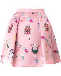 Mary Katrantzou Calculom Symbol-Print Satin Mini Skirt - Lyst