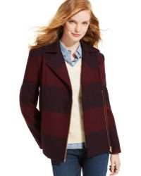 Tommy Hilfiger Rugby-Striped Wool Moto Pea Coat - Lyst