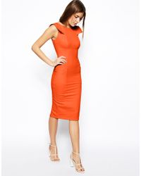 Asos Pencil Dress with Fold Sleeve Detail - Lyst