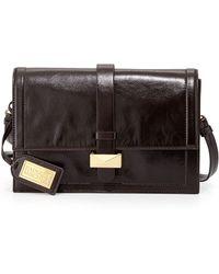 Badgley Mischka Lena Shine Leather Flap Bag - Lyst