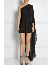 Haney Amy One-Shoulder Silk-Chiffon Mini Dress - Lyst