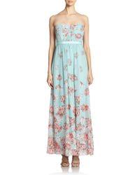 BCBGMAXAZRIA Amber Strapless Floral Gown - Lyst