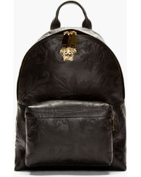 Versace Black Embossed Grain Leather Emblem Backpack - Lyst