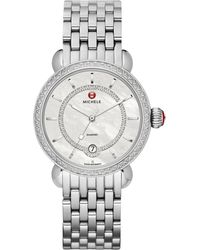 Michele Csx Elegance Diamond, Mother-Of-Pearl & Stainless Steel Bracelet Watch - Lyst