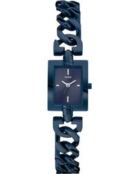 Guess Womens Blue-tone Chain Bracelet Watch 24x19mm - Lyst
