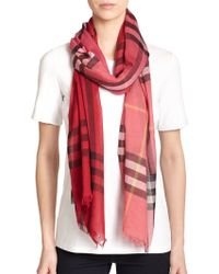 Burberry Ombrè Giant Check Wool & Silk Scarf - Lyst