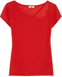 LNA Palm Desert Cutout Linen and Cottonblend Tshirt - Lyst