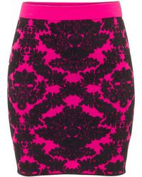 House Of Holland Brocade Knit Skirt Pink - Lyst