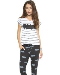 Zoe Karssen Bat Striped Tee Optical Whitepirate Black - Lyst