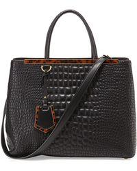Fendi 2jours Medium Croc-stitched Shopping Tote Bag - Lyst
