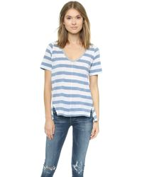 Splendid Bridgewater Stripe V Neck Tee - White - Lyst