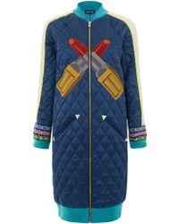 House Of Holland Blue Varsity Coat - Lyst