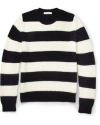Sandro Striped Knitted Crew Neck Sweater - Lyst