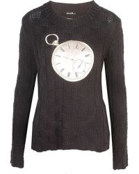 Again - Seven And Seven Black Knitted Jumper - Lyst