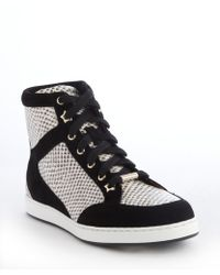 Jimmy Choo Black And White Snake Embossed And Suede Hi-Top Sneakers - Lyst