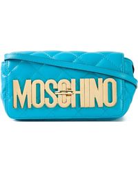 Moschino Blue Sky Mini Shoulder Bag With Logo teal - Lyst