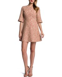 Cynthia Steffe Floral Lace Halfsleeve Fitflare Dress - Lyst