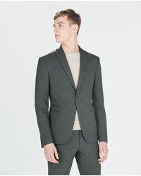 Zara Grey Flannel Blazer - Lyst