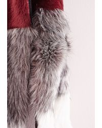 Missguided - Wednesday Colour Block Faux Fur Scarf Oxblood - Lyst