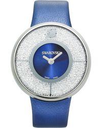 Swarovski Womens Swiss Crystalline Navy Calfskin Leather Strap 40mm - Lyst