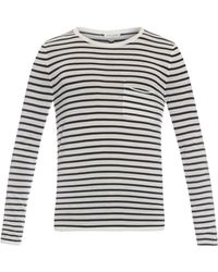 Saint Laurent Breton-Striped Fine-Knit Wool Top blue - Lyst