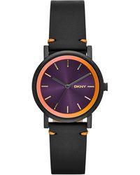DKNY Womens Soho Black Leather Strap Watch 34mm - Lyst