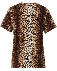 Moschino Leopard-print Cotton T-shirt - Lyst