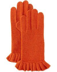 Portolano Cashmere-Blend Ruffle Tech Gloves brown - Lyst