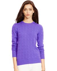 Ralph Lauren Cable-Knit Cashmere Sweater - Lyst