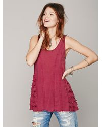 Free People Womens Ruffled Up Cami - Lyst