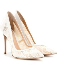 Gianvito Rossi Lace and Leather Pumps - Lyst