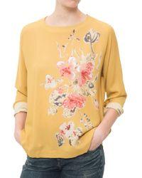 Pomandère Button Back Floral Top yellow - Lyst