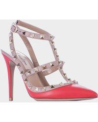 "Valentino Orange ""Rockstud"" Shoes red - Lyst"