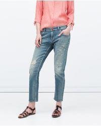 Zara Patched Boyfriend Jeans - Lyst
