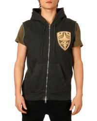 Balmain Logo-patch Sleeveless Zip Hoodie - Lyst