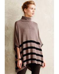 Anthropologie Brown Hemstriped Poncho - Lyst