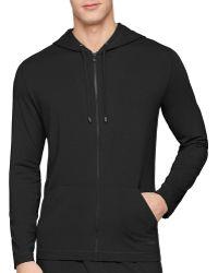 Calvin Klein Cotton Modal Zip Up Hoodie black - Lyst