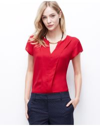 Ann Taylor Split Neck Crepe Top - Lyst