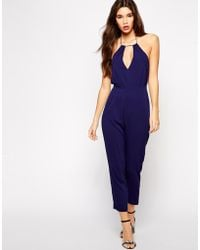 Asos Jumpsuit with Halter and Keyhole - Lyst