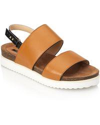 Forever 21 Colorblocked Leather Flatform Sandals - Lyst