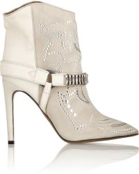 Isabel Marant Milwauke Embellished Suede and Leather Ankle Boots - Lyst