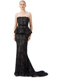 Adrianna Papell Lace Peplum Gown - Lyst